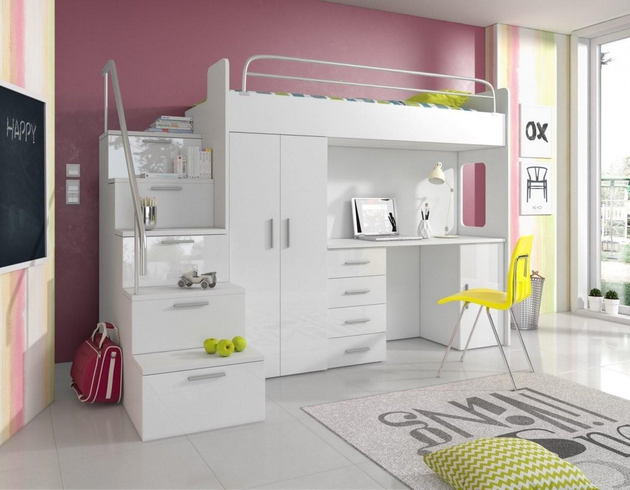 Hochbett Pati Mit Schreibtisch Schrank Und Treppe  Möbel Für Dich von Bett Mit Schreibtisch Und Schrank Bild