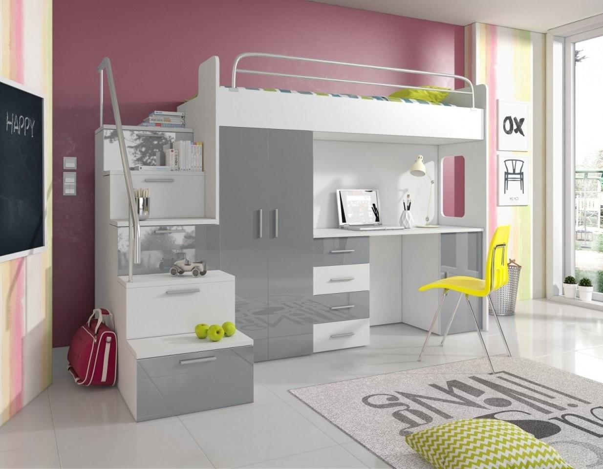 Hochbett Pati Mit Schreibtisch Schrank Und Treppe  Möbel Für Dich von Hochbett Mit Treppe Und Schreibtisch Bild
