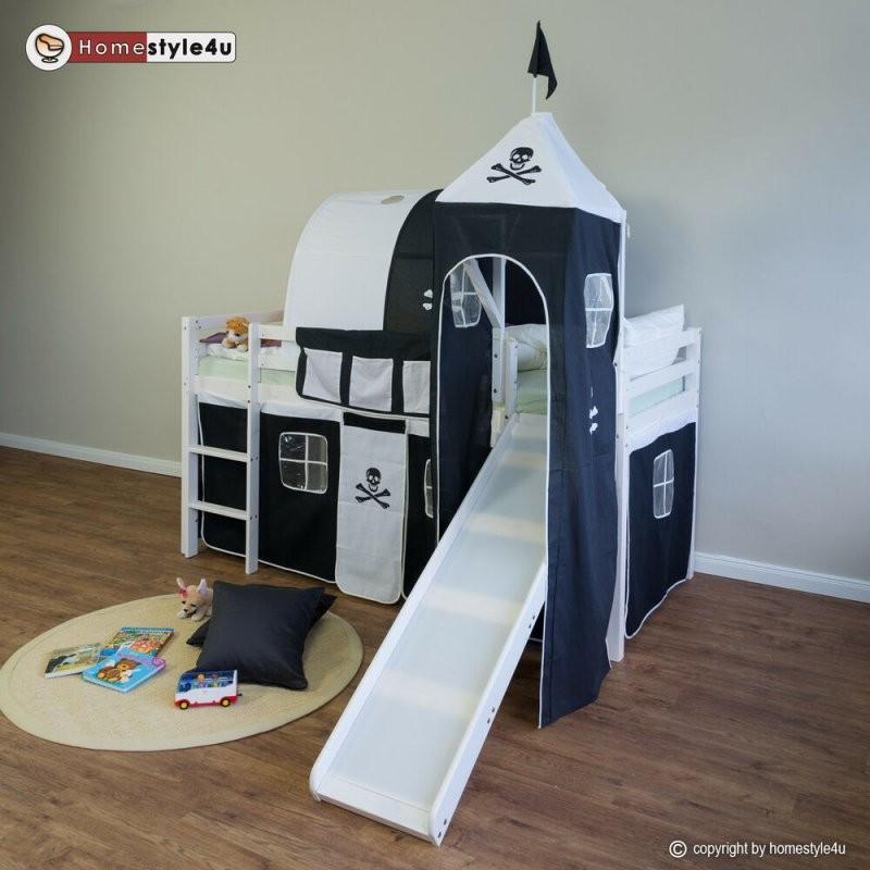 Hochbett Spielbett Kinderbett Jugendbett Rutsche Turm Vorhang Tunnel von Tunnel Für Kinderbett Selber Machen Bild