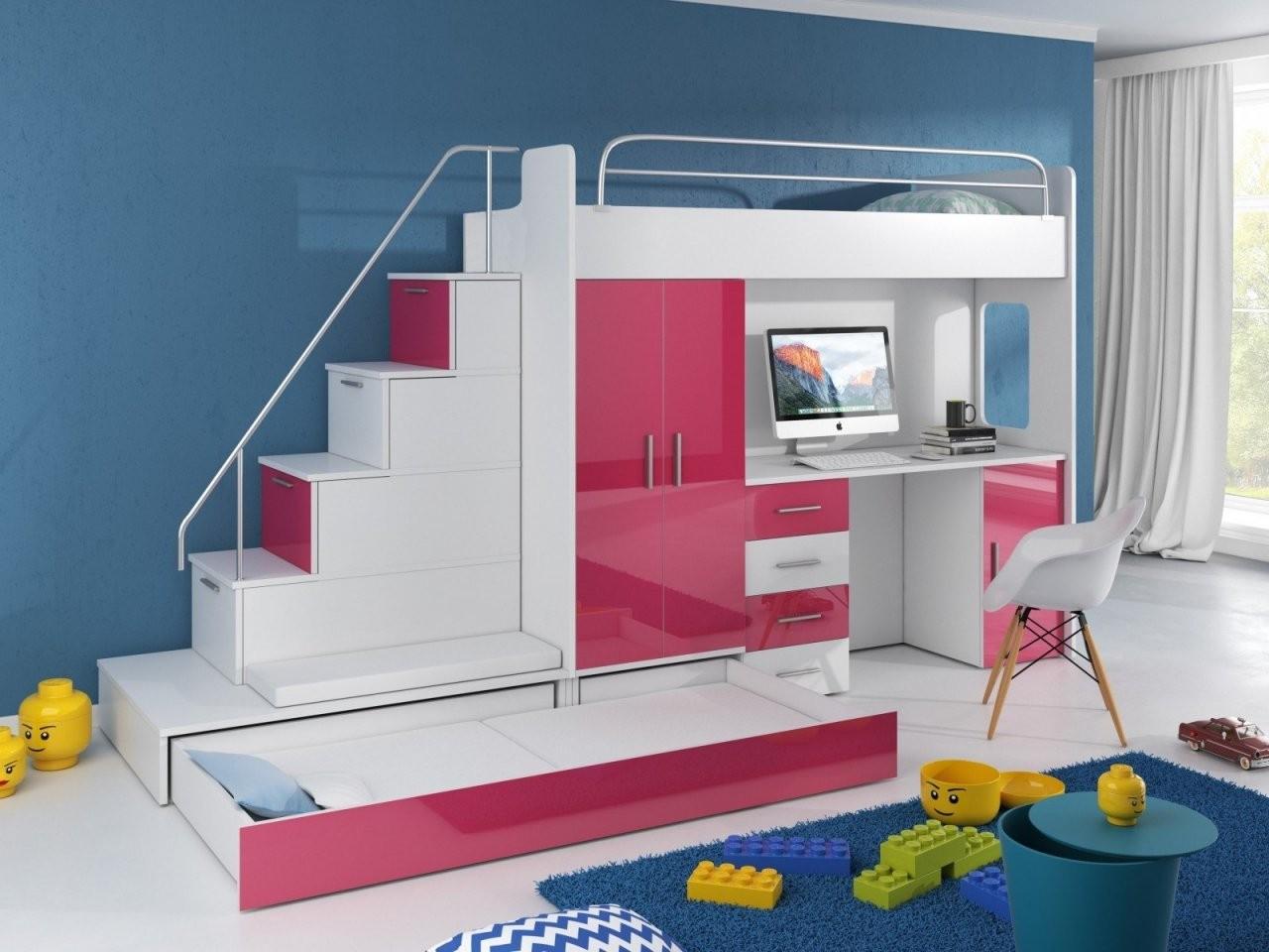 Hochbett Tomi Mit Schreibtisch Schrank Und Regal  Möbel Für Dich von Hochbett Mit Treppe Und Schrank Bild
