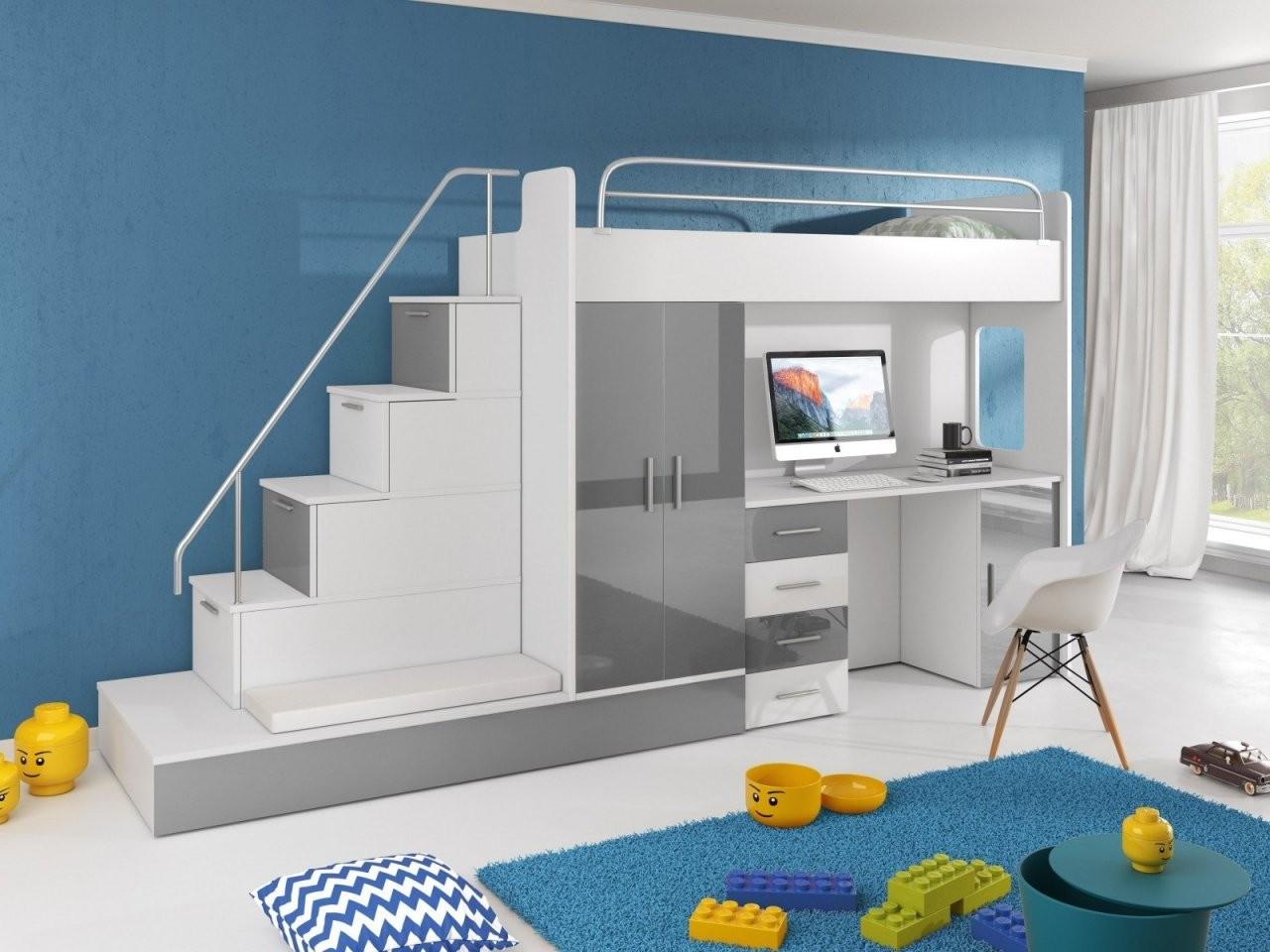 Hochbett Tomi Mit Schreibtisch Schrank Und Regal  Möbel Für Dich von Hochbett Mit Treppe Und Schreibtisch Bild