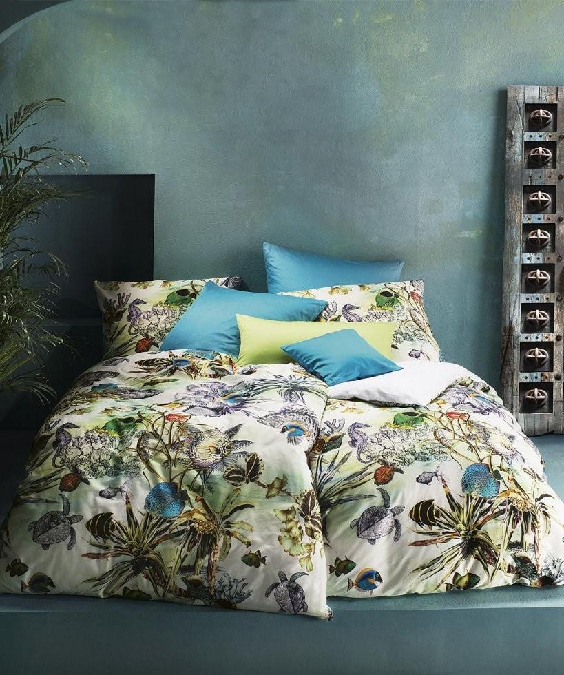 Hochwertige Mako Satin Bettwäsche Mit Fischen ♥ Fleuresse Bed Art von Bettwäsche Fotodruck Tiere Bild