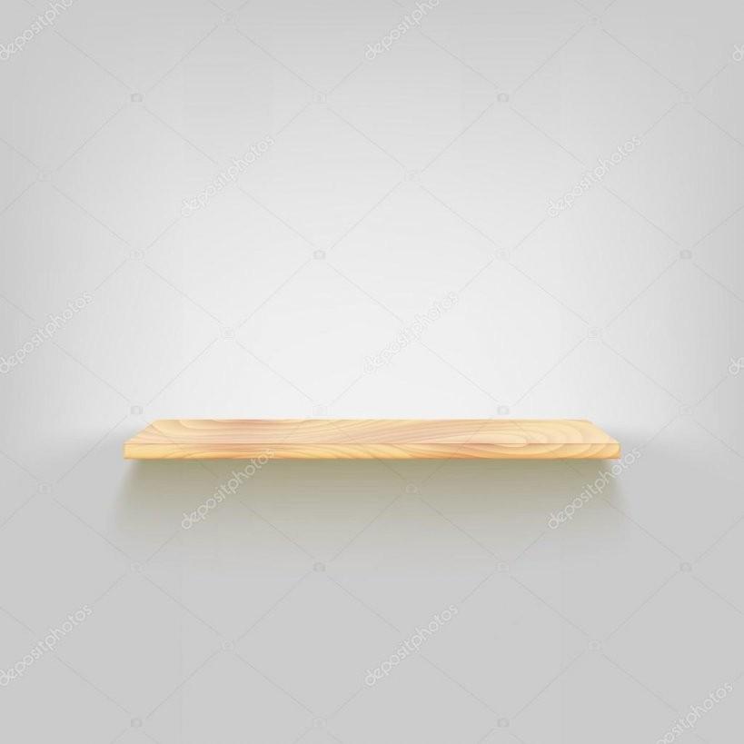Holz Regal An Der Wand Befestigt — Stockvektor © Mastererik 68837165 von Regal An Der Wand Befestigen Bild