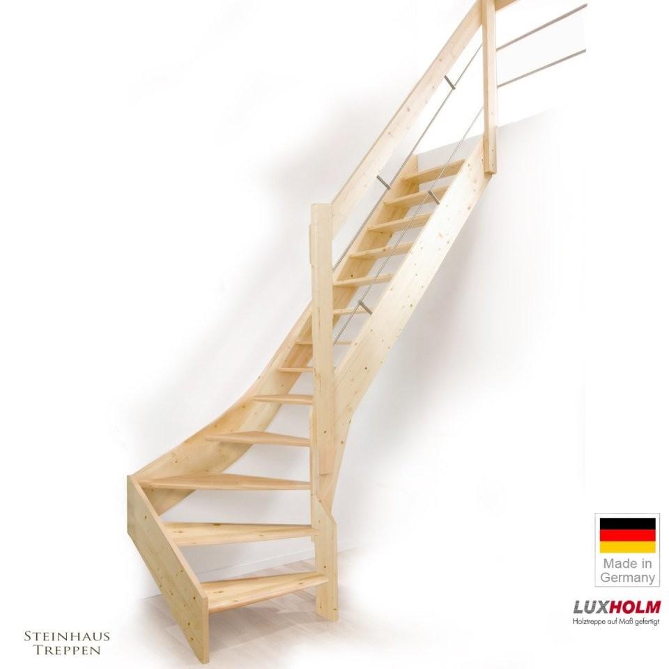 Holztreppe Fichte Mit Wendelung Unten Massivbau Inklusive Geländer von Raumspartreppe 1 4 Gewendelt Günstig Photo