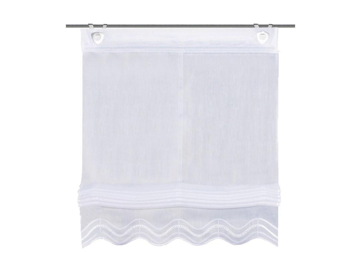Home Wohnideen Raffrollo Batist Weiß Inklusive Fensterhaken von Rollo Mit Ösen Und Fensterhaken Bild