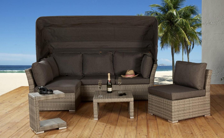 Ibiza Loungegruppe Mit Dach Champagner 5 Tlg Lounge Muschelset von Lounge Sofa Mit Dach Bild