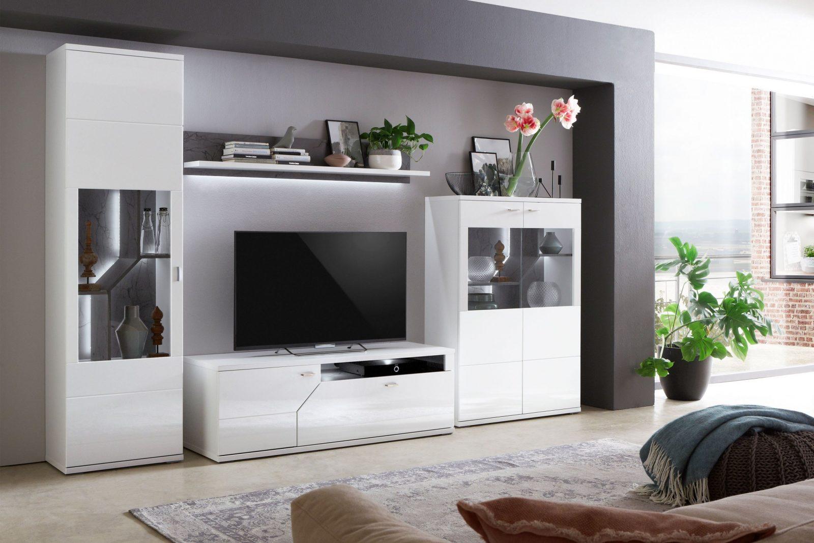 Ideal Möbel Wohnwand Taviano K35 Weiß Marmor  Möbel Letz  Ihr von Wohnwand Auf Rechnung Bestellen Bild