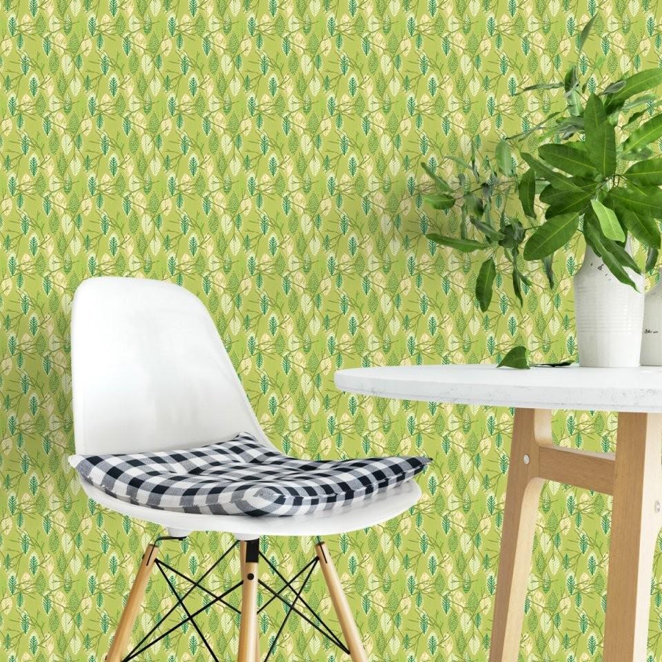 """Im Blätterwald""""  Moderne Grafische Tapete In Grün  Gmmberlin von Schöner Wohnen Tapete Grün Bild"""