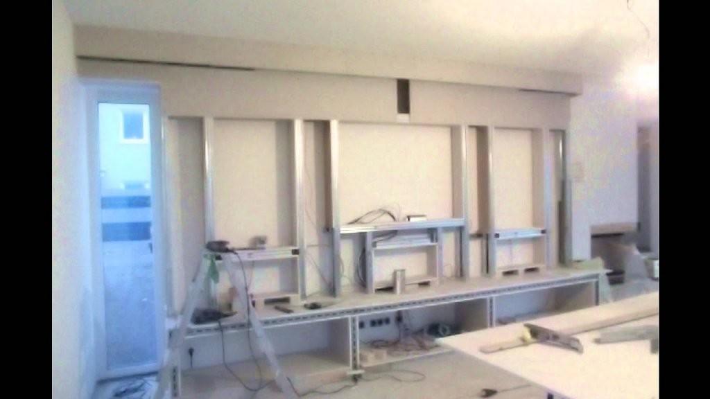 Innenausbau Design Multimedia Tv Wand Trockenbau  Youtube von Media Wand Selber Bauen Bild