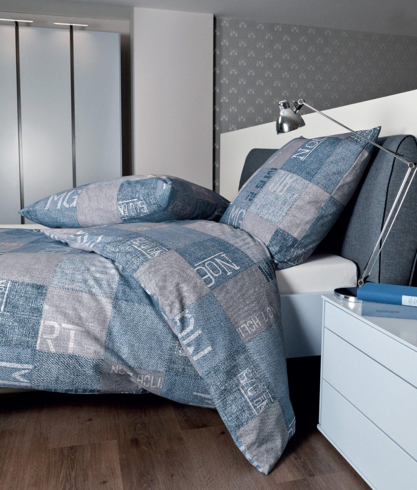 Janine Biber Bettwäsche 240X220 Cm Davos Karo Jeansblau Blau Grau von Bettwäsche Biber 240X220 Photo