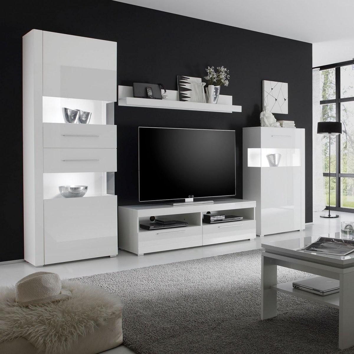 Jetzt Bei Home24 Wohnwand Von Modoform  Home24At von Roller Wohnwand Weiß Hochglanz Bild