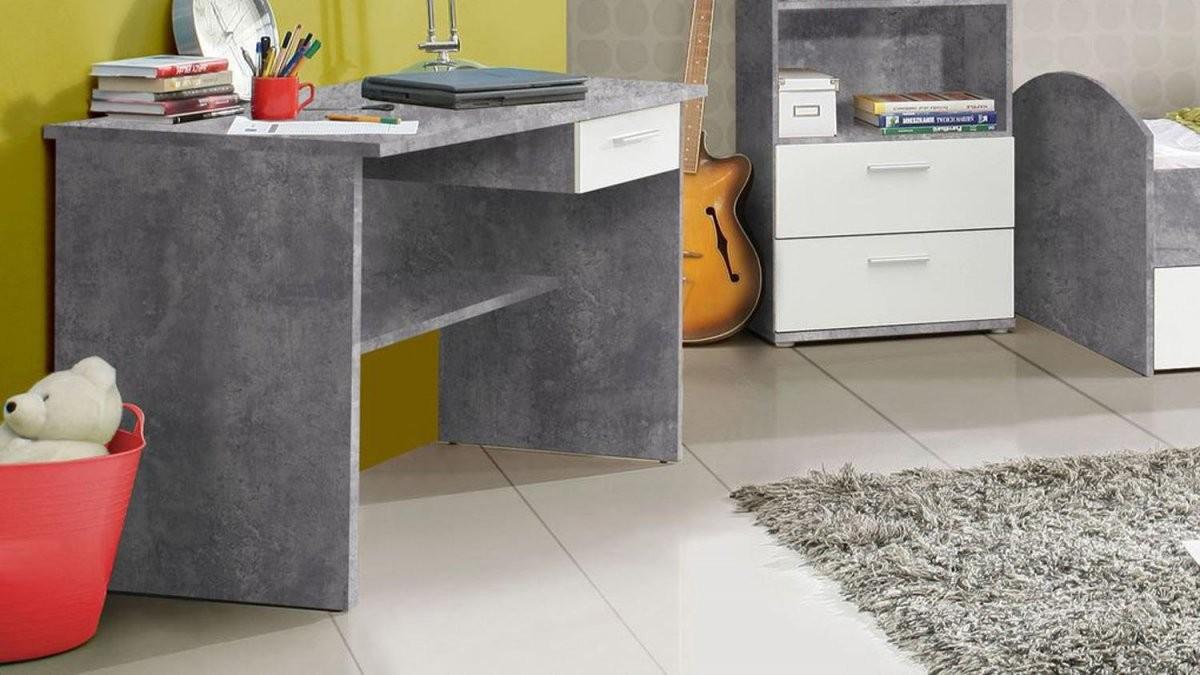 Jugendzimmer Lupo Schrank Bett Regal Schreibtisch Beton Grau Und Weiß von Bett Mit Schreibtisch Und Schrank Photo