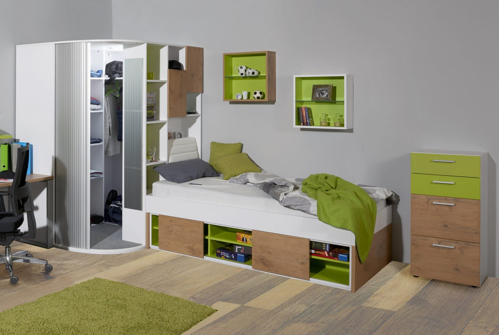 Jugendzimmer Von Rudolf High 5  Eckschrank  Liege  Möbel Letz von Jugendzimmer Mit Begehbarem Schrank Bild