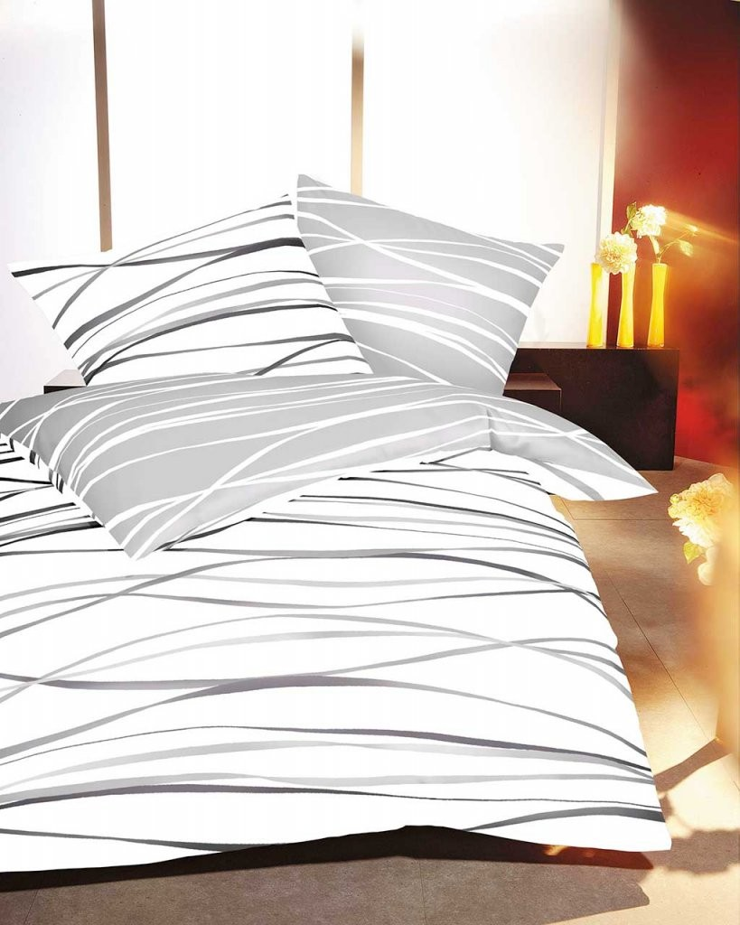 Kaeppel Biber Bettwäsche Streifen Motion Schiefer  Magita von Kaeppel Biber Bettwäsche 155X220 Bild