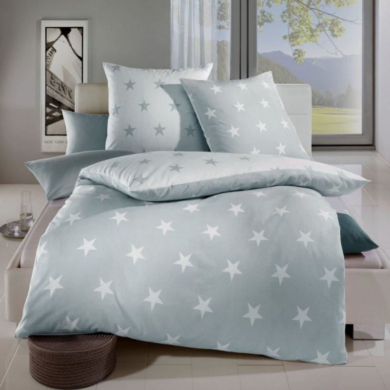 Kaeppel Mako Satin Wendebettwäsche 155X220 Cm Stars 32749 Silber von Bettwäsche Sterne Grau 155X220 Bild