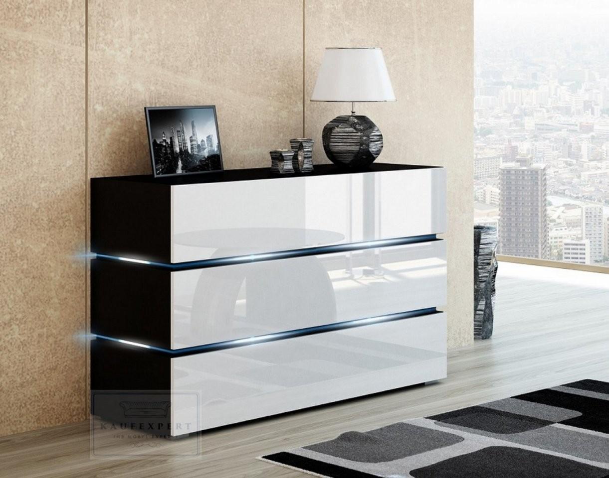 Kaufexpert  Kommode Shine Sideboard 120 Cm Weiß Hochglanzschwarz von Kommode Weiß Hochglanz 120 Cm Breit Photo