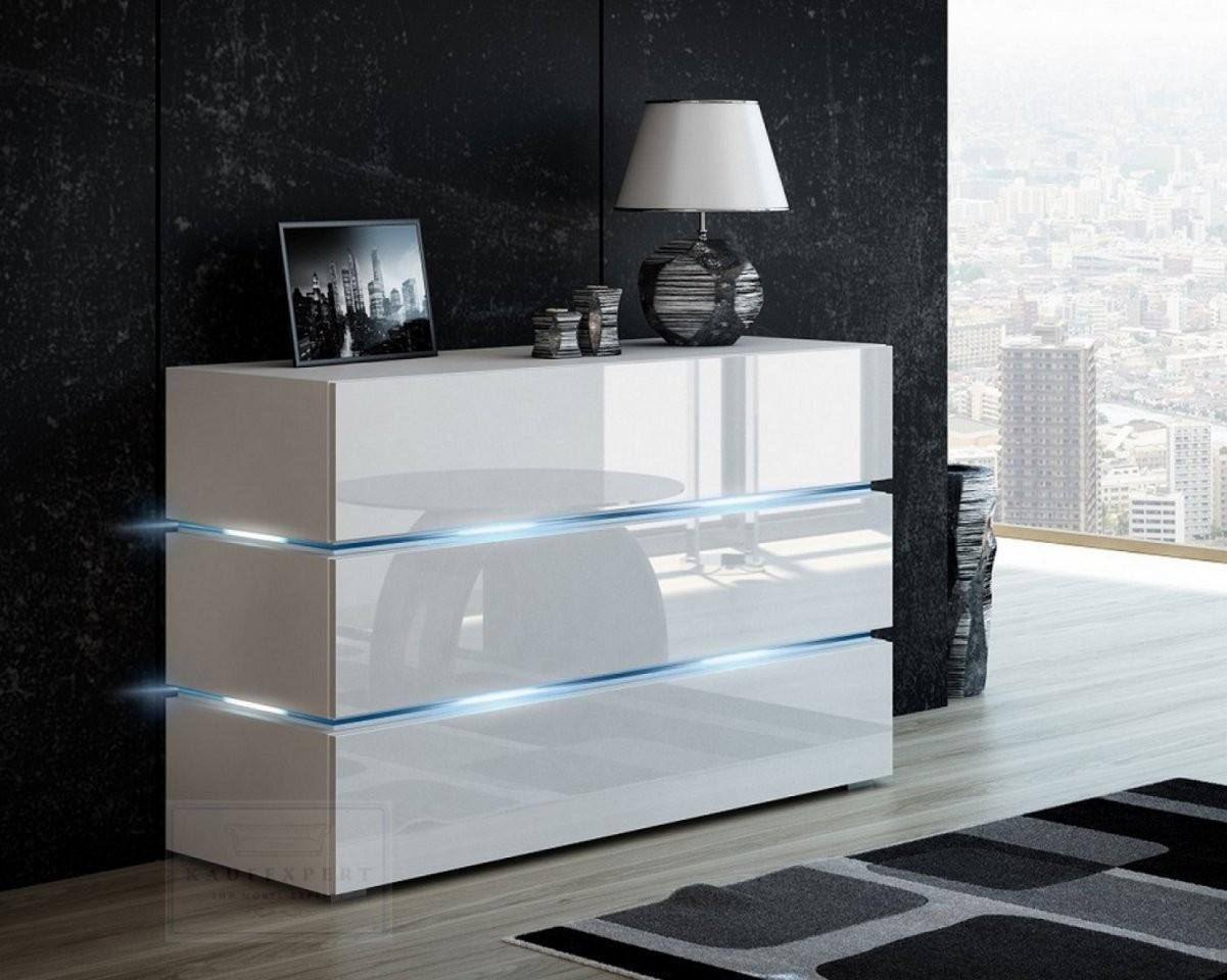 Kaufexpert  Kommode Shine Sideboard 120 Cm Weiß Hochglanzweiß Led von Kommode Weiß Hochglanz 120 Cm Breit Bild