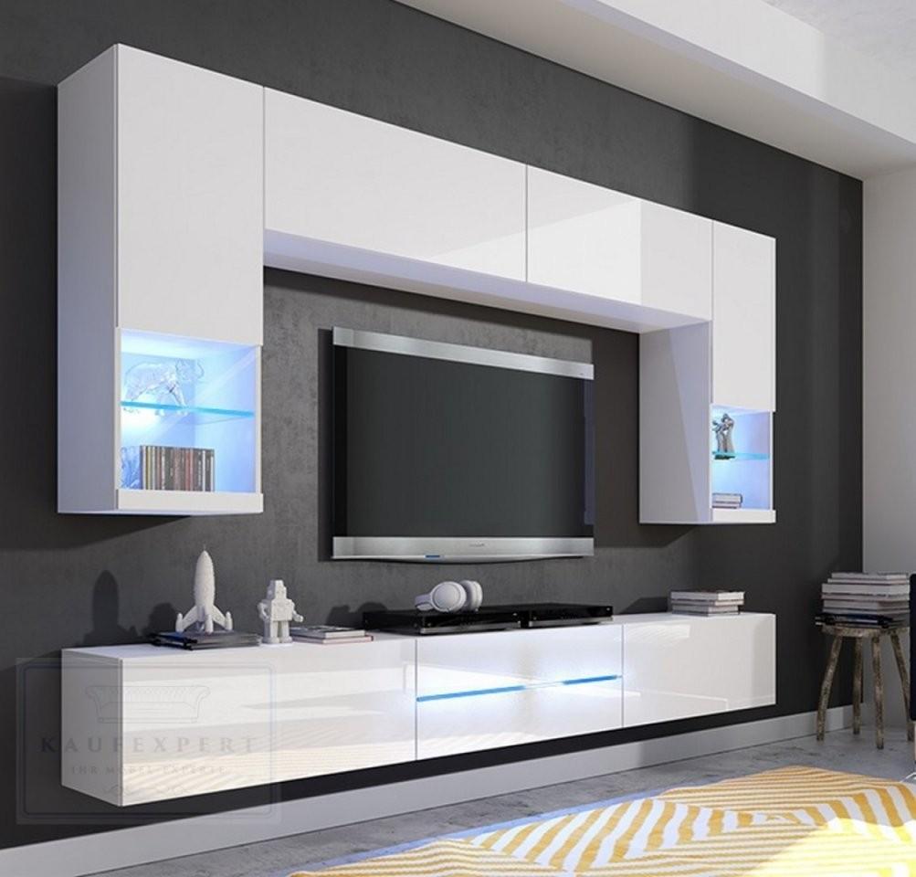 Kaufexpert  Wohnwand Milano Weiß Hochglanz 256 Cm Mediawand von Designer Wohnwand Weiß Hochglanz Bild