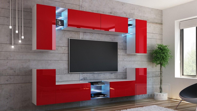 Kaufexpert  Wohnwand Splash Rot Hochglanz Weiß Mediawand von Wohnwand 270 Cm Breit Photo