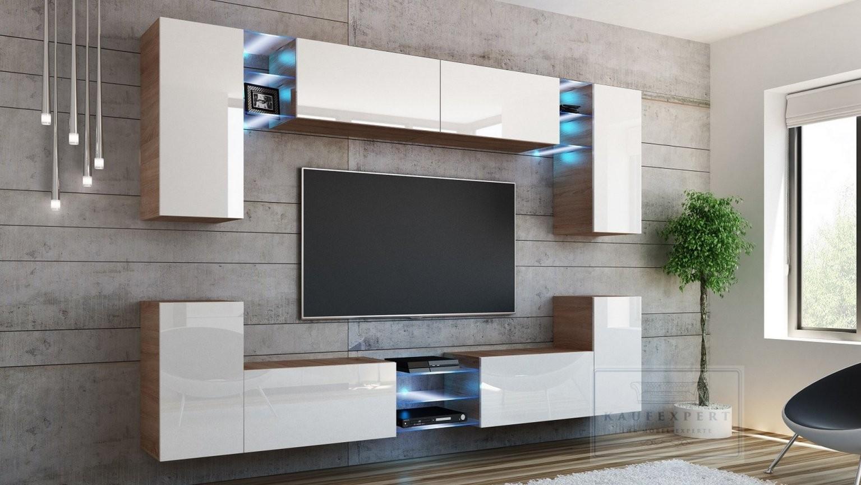 Kaufexpert  Wohnwand Splash Weiß Hochglanz Sonoma Eiche Mediawand von Wohnwand 270 Cm Breit Bild