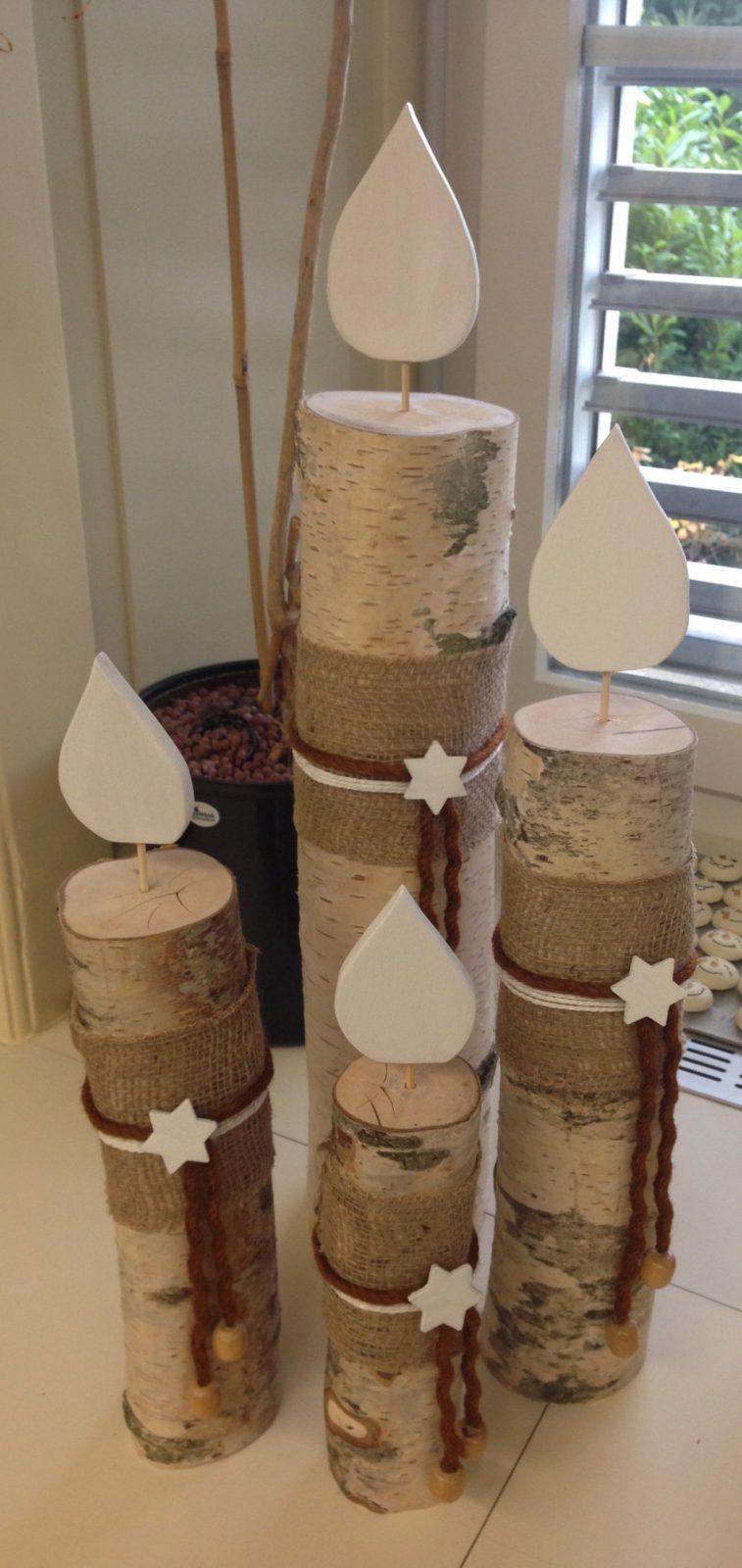 Kerzen Aus Einem Birkenstamm  Kerst  Weihnachtsdeko Holz Herbst von Weihnachtsdeko Für Draussen Selber Basteln Bild