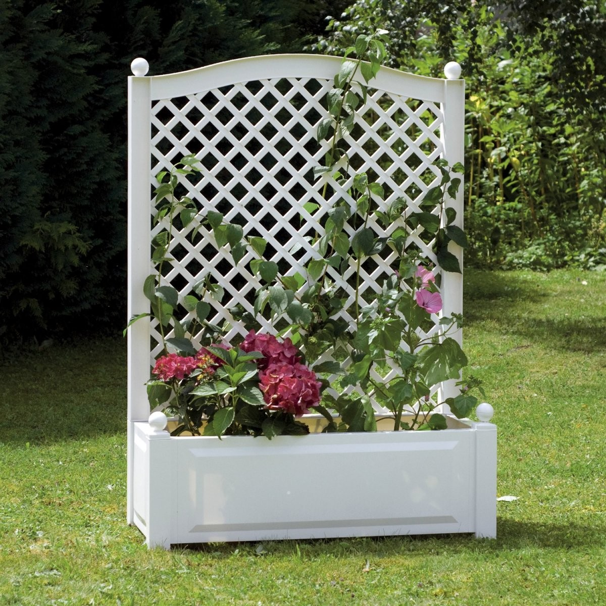 Khw Pflanzkasten Groß Mit Spalier Weiß 140 Cm X 100 Cm X 43 Cm von Garten Sichtschutz Mit Blumenkasten Bild