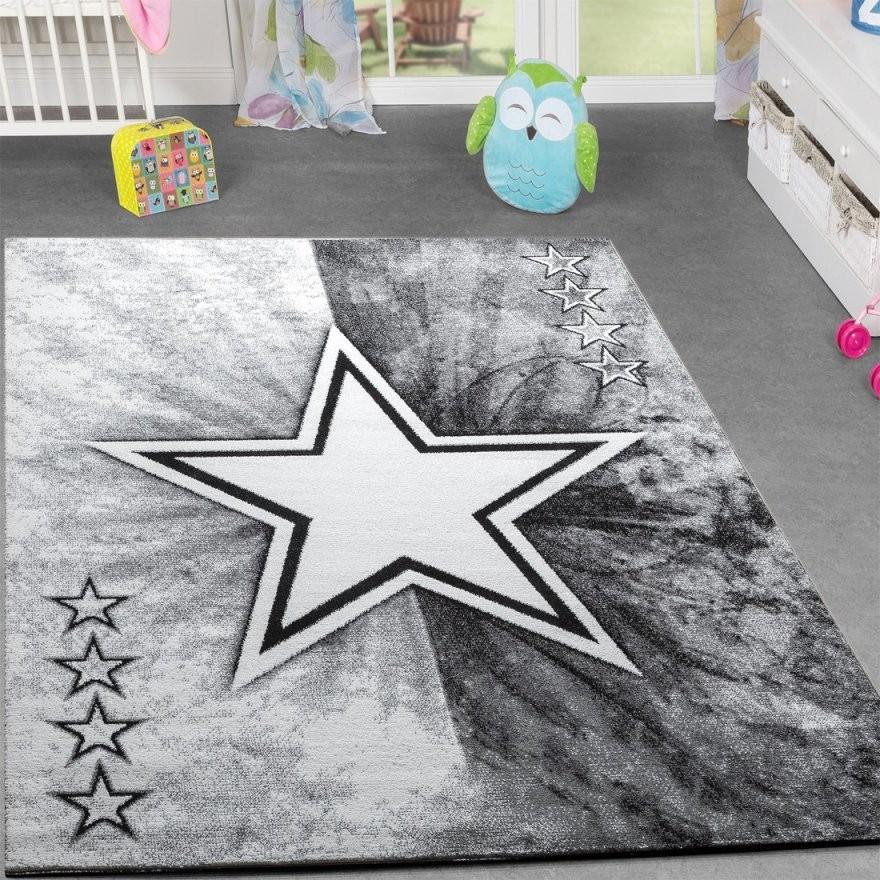 Kinder Teppich Jugend Teppich Modern Stern Design Kinderzimmer von Teppich Mit Sternen Grau Bild