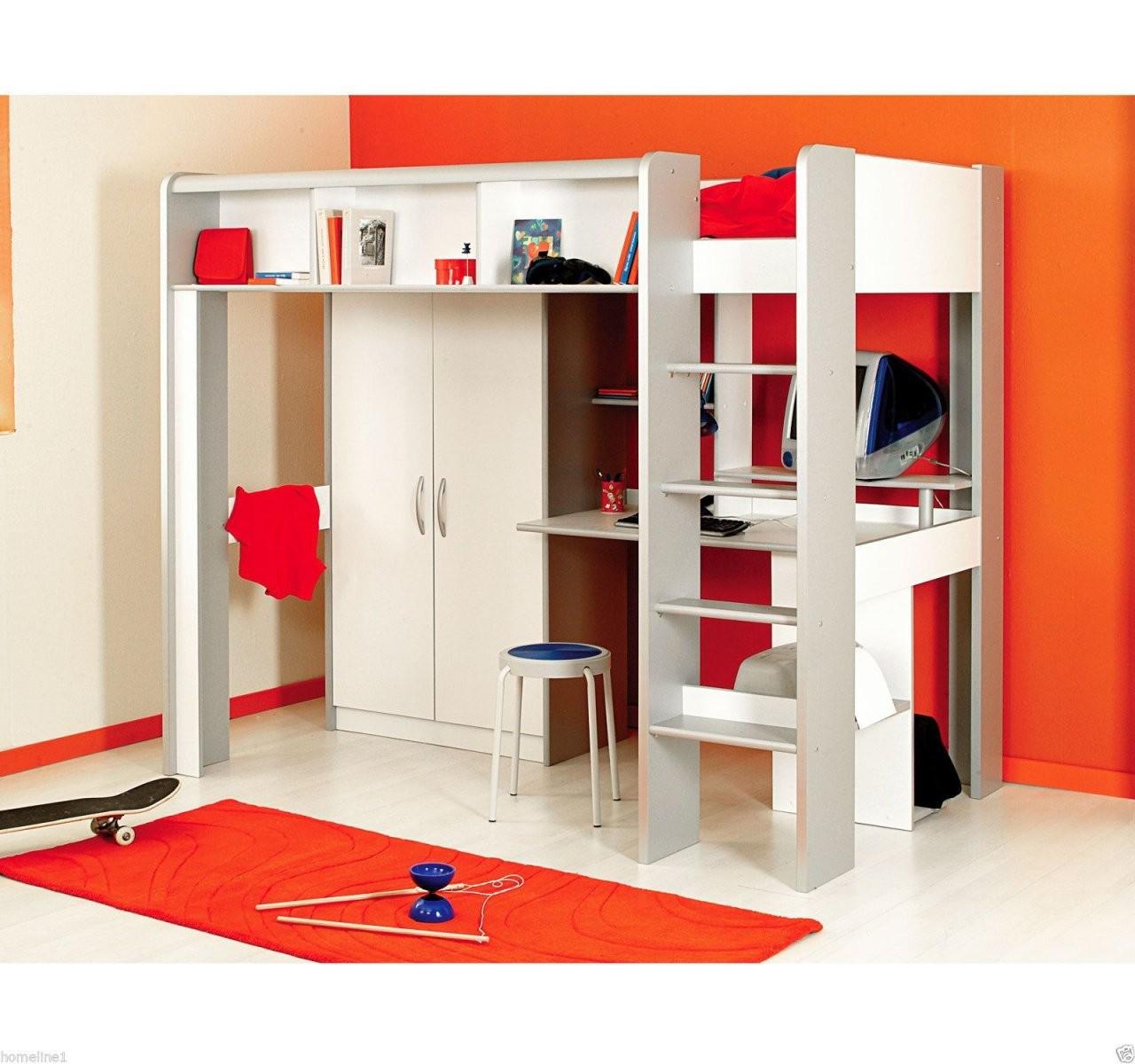Kinderbett Hochbett Mit Treppe Kleiderschrank Schreibtisch Weiß von Kinderbett Mit Schreibtisch Und Kleiderschrank Bild
