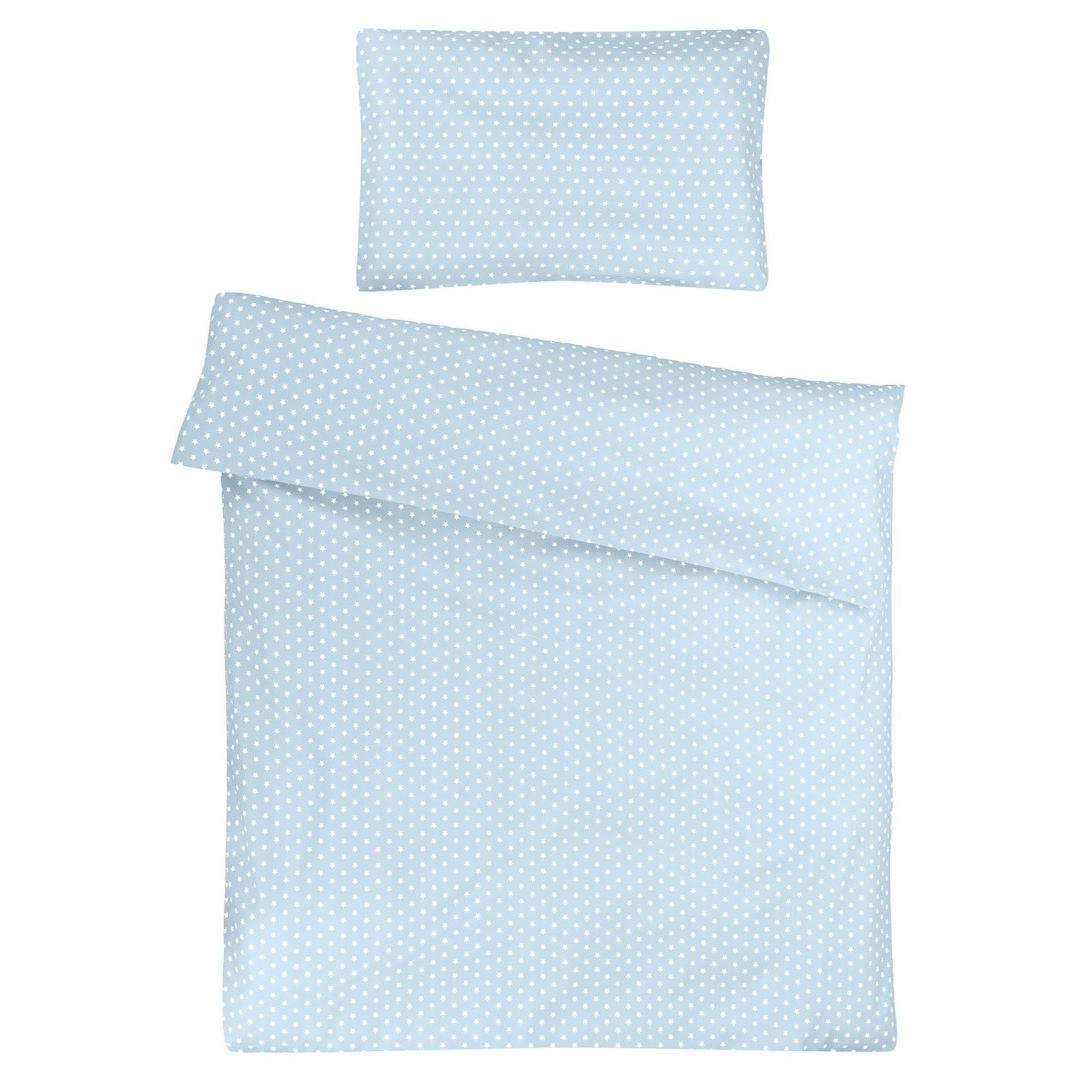 Kinderbettwäsche 100X135 Cm  Hellblau Mit Weißen Sternen von Bettwäsche 100X135 Sterne Bild