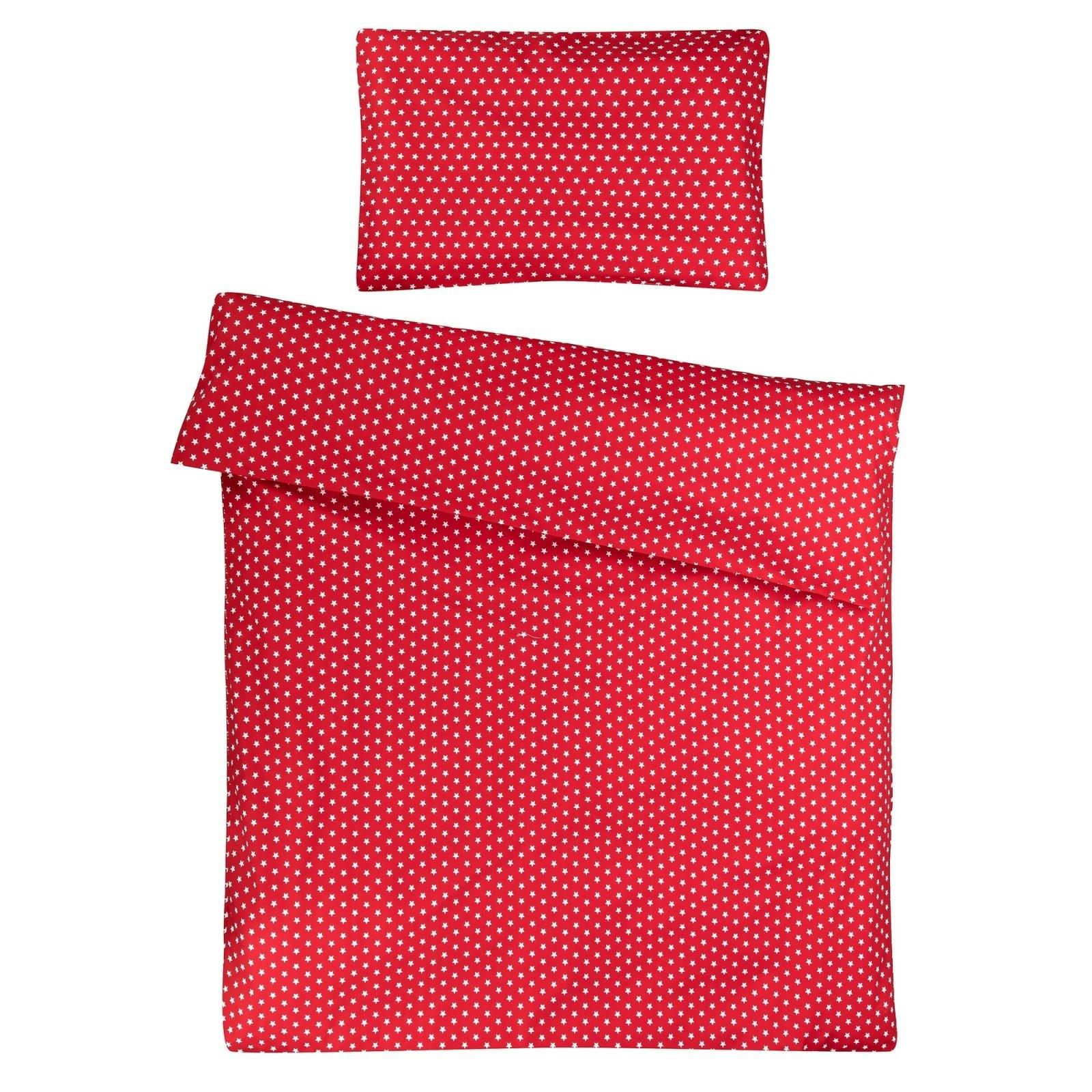 Kinderbettwäsche 100X135 Cm  Rot Mit Weißen Sternen von Bettwäsche 100X135 Sterne Photo