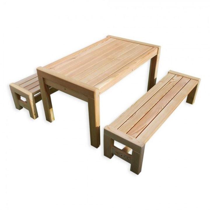 Kindergarnitur Bank Kinder Gartenmöbel Aus Holz Unbehandelt Natur von Gartentisch Mit 2 Bänken Photo