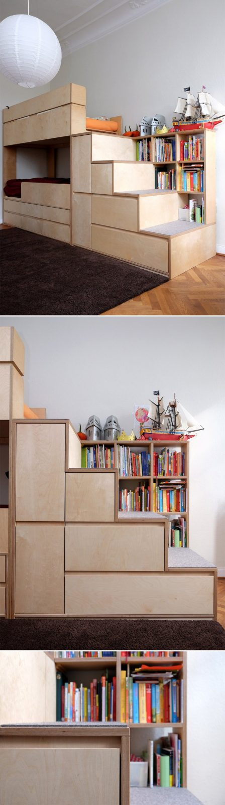 Kinderzimmer Etagenbett  Hochbett Mit Treppe Und Stauraum von Etagenbett Mit Stauraum Treppen Photo