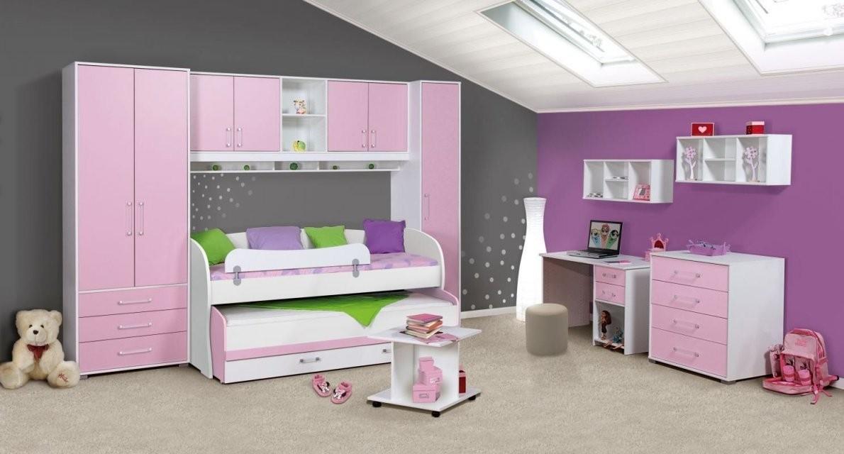 Kinderzimmer Komplettset In Rosa  Weiss  Drehtürenschrank von Kinderbett Mit Schreibtisch Und Kleiderschrank Photo
