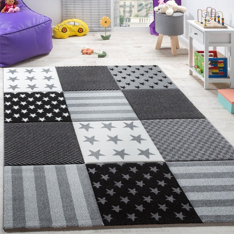 Kinderzimmer Teppich Sterne Karo Grau  Teppichcenter24 von Teppich Mit Sternen Grau Bild