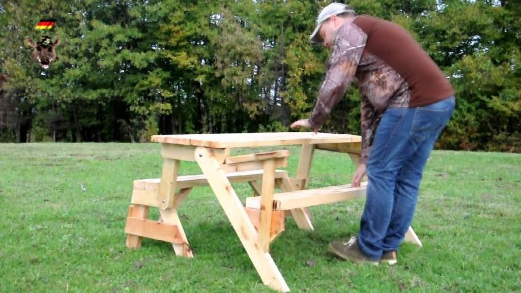 Klappbare Gartentisch Mit Holzbank Sitzbank Massiv Ausziehbar  Youtube von Tisch Bank Kombination Bauanleitung Photo