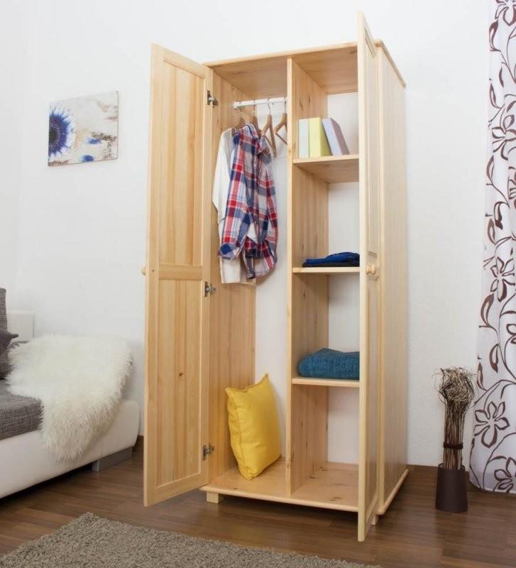 Kleiderschrank 80 Cm Breit Farbe Natur Massivholz Türen 2 Höhe von Kleiderschrank Breite 80 Cm Bild