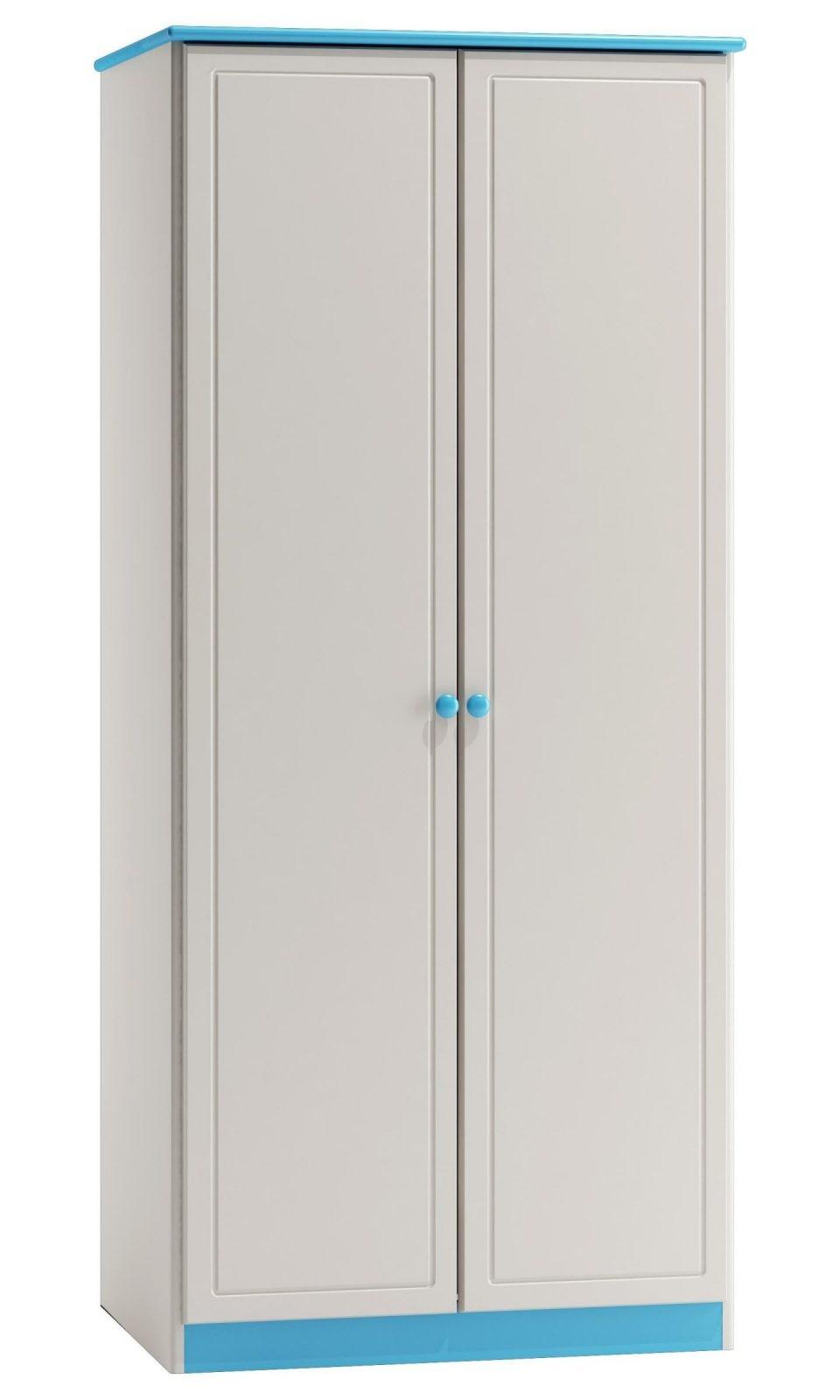 Kleiderschrank Breite 80 Cm Farbe Weiß  Blau Türen 2 Höhe (Cm von Kleiderschrank Breite 80 Cm Bild