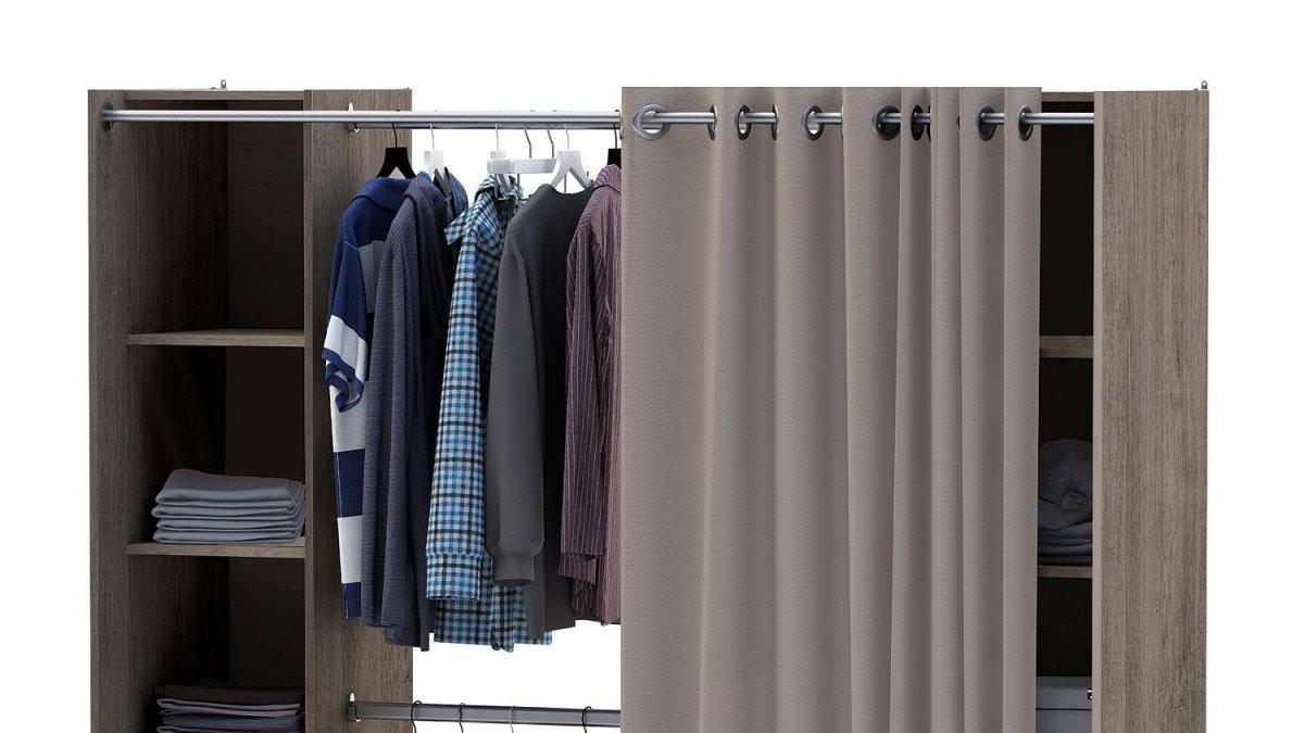 Kleiderschrank Fantastic Prata Eiche Verstellbar Vorhang von Offener Schrank Mit Vorhang Photo