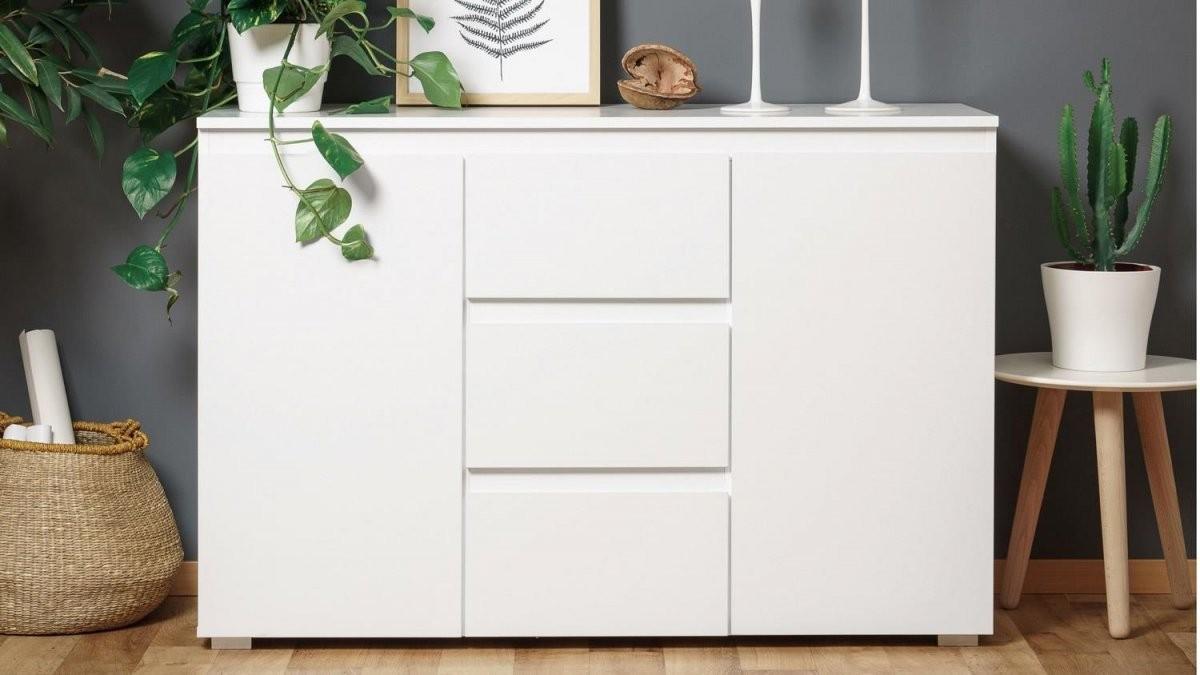 Kommode Weiß Hochglanz 120 Cm Breit Sideboard Blanc 4 Grifflose von Kommode Weiß Hochglanz 120 Cm Breit Photo