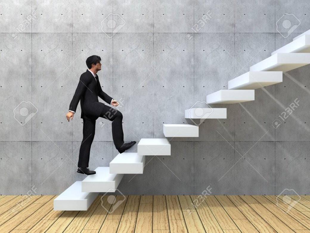 Konzeptionelle Geschäftsmann Klettern Eine Treppe Über Eine Wand Und von Treppe An Der Wand Bild