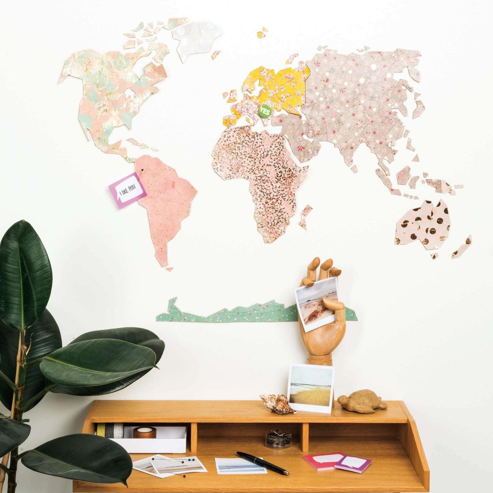 Korkpinnwand Weltkarte  Gratis Anleitung Zum Selber Machen von Weltkarte Pinnwand Selber Machen Bild
