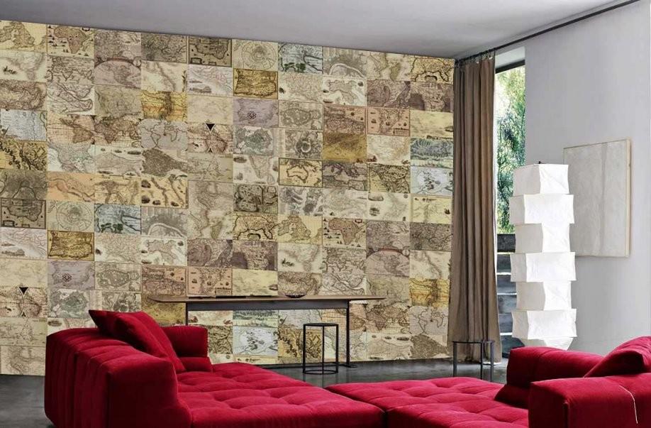 Kreative Collage Wanddekoration Antike Landkarte Designer Tapete von Fototapete Collage Selbst Gestalten Bild