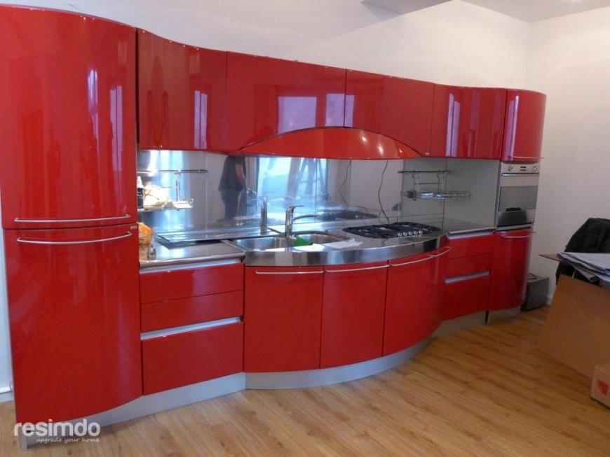 Kuche Folieren Rot Zu Weis Hochglanz Resimdo Von Kuchenfronten von Küche Folieren Lassen Kosten Bild