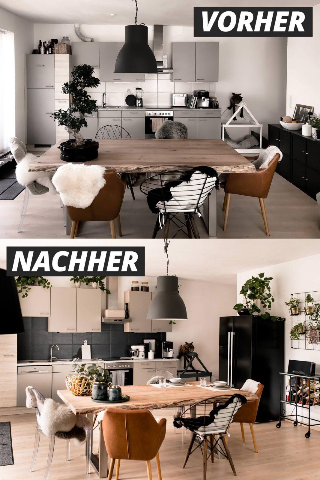 Küche Verschönern Mit Wenig Aufwand Mein Küchenmakeover Inkl von Küchenfronten Lackieren Vorher Nachher Bild
