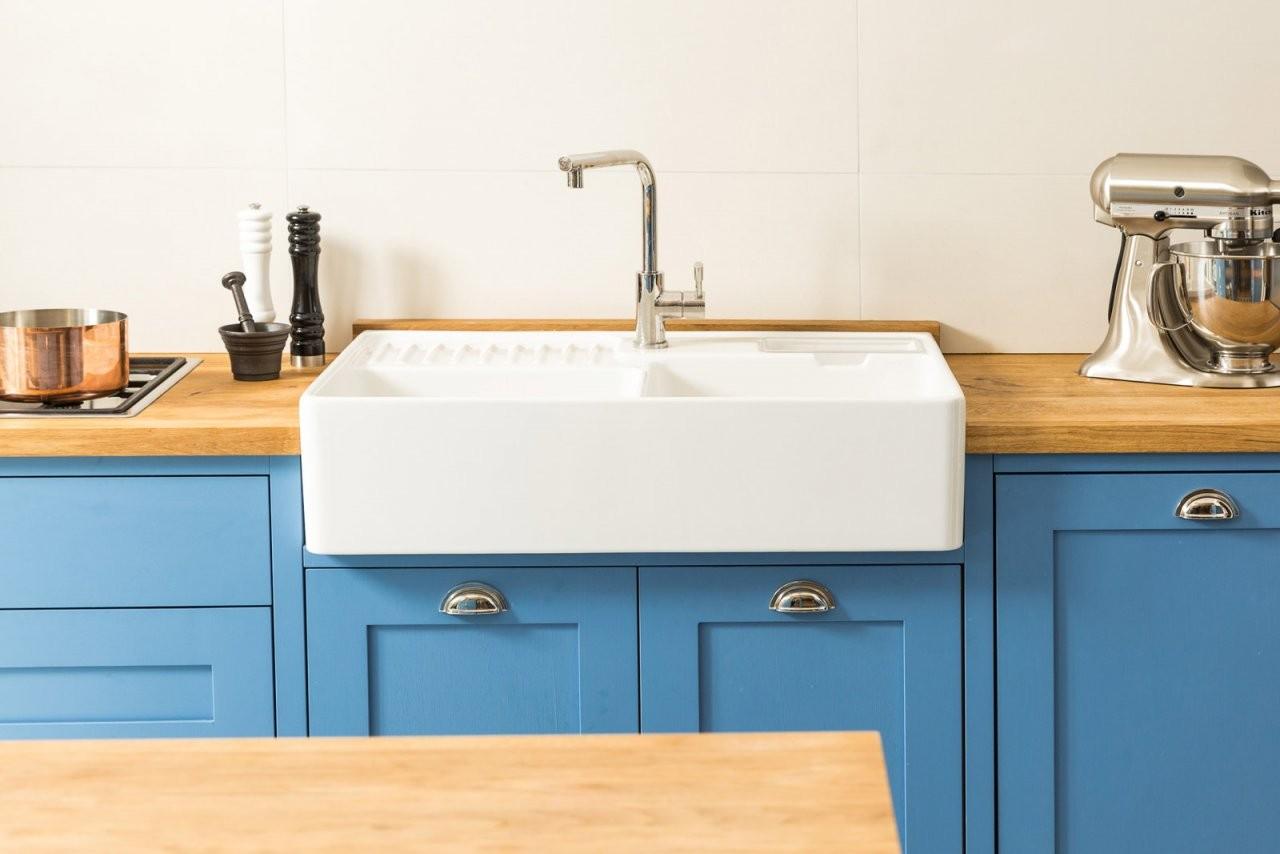 Küchenprojekt  Cook´s Blue  Die Blaue Shaker Küche  Welter von Küche Kleiner Raum Modern Bild
