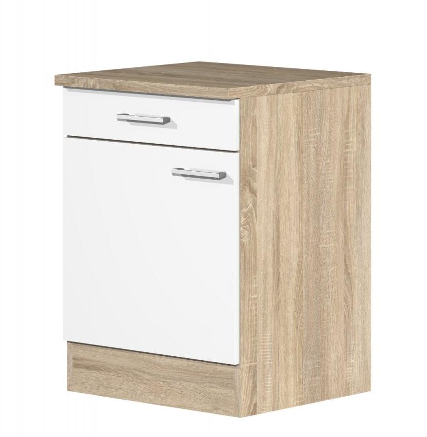 Küchenunterschrank 60 Cm Weiß Sonoma Eiche Dekor  Salerno von Küchenarbeitsplatte 70 Cm Breit Bild