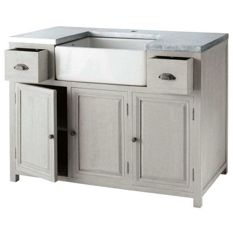 Küchenunterschrank Aus Heveaholz Mit Spüle B 120 Cm Grau  Shop von Küchen Unterschrank Mit Spüle Bild