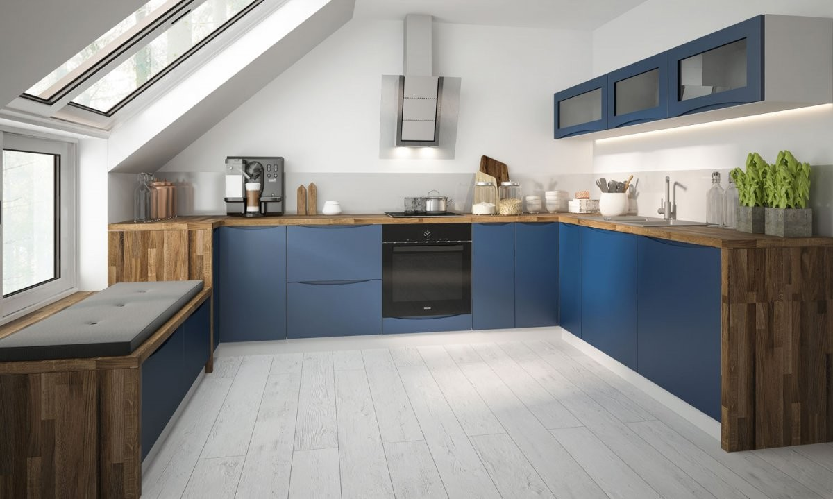 Küchenzeile Uform 210X330X210Cm Küche Weiß  Violettblau Matt von Küchen Modern U Form Bild