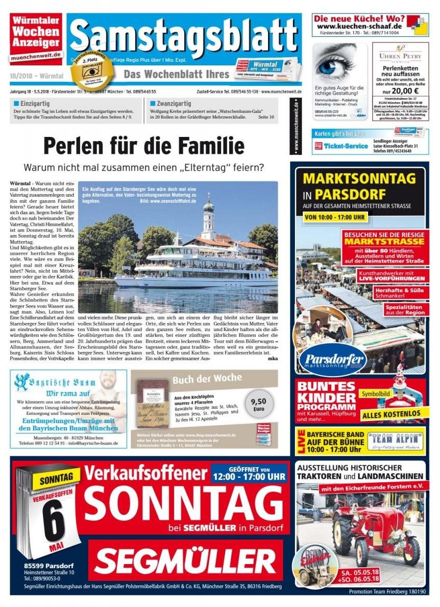 Kw 182018Wochenanzeiger Medien Gmbh  Issuu von Segmüller Parsdorf Verkaufsoffener Sonntag Photo