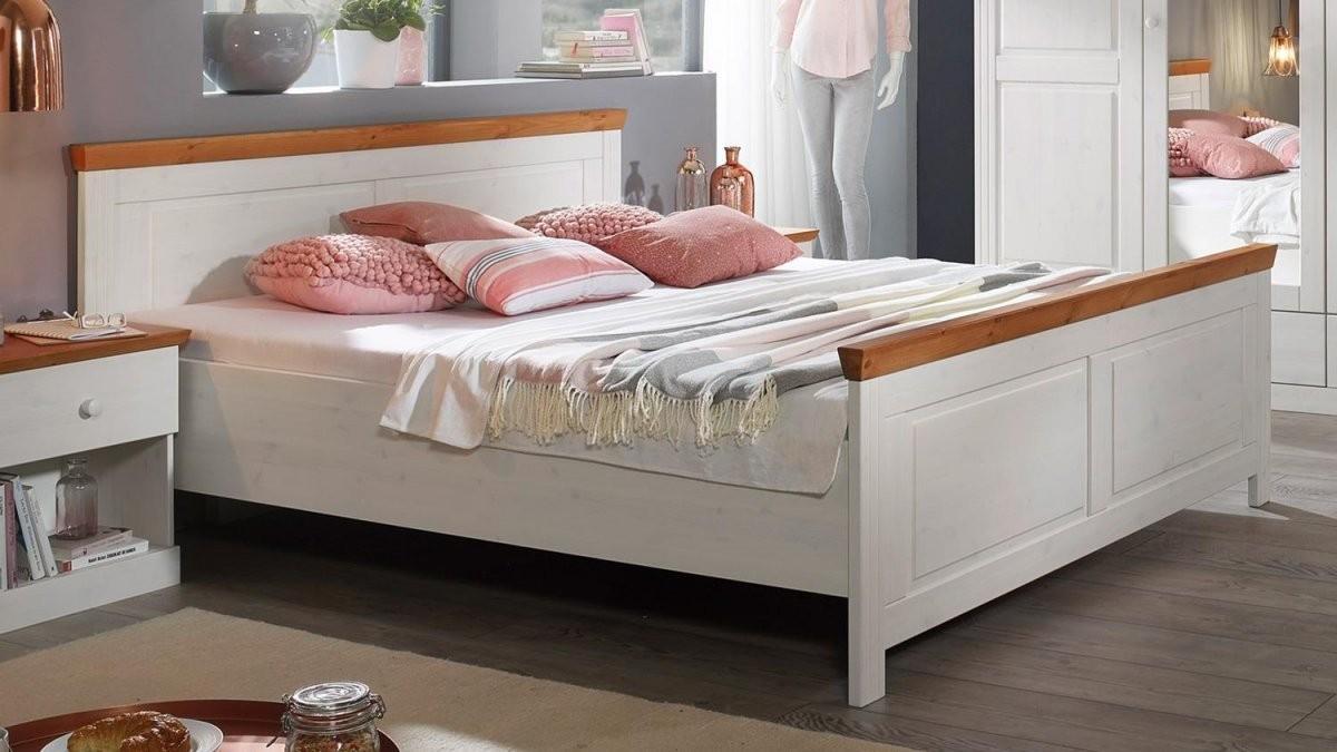 Landhausstil Bett 180X200 Genia Doppelbett Kiefer Massiv Weiß Honig von Doppelbett Kiefer Massiv 180X200 Bild